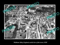OLD POSTCARD SIZE PHOTO OF WALTHAM ABBEY ENGLAND AERIAL VIEW OF TOWN c1920 1