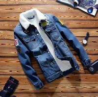 Men's Retro Denim Cotton Jean Jacket Coat New Winter Outwear Size M L XL 2XL 3XL
