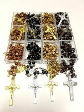 Rosary St BENEDICT wood beads rosary CATHOLIC Rosary Crucifix Necklace lot of 12
