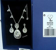 5039426 Swarovski Tizian Set, Pendant & Pierced Earrings Pear Shape Crystal MIB