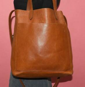 """J. Crew MADEWELL Brown Leather """"TRANSPORT"""" CROSS-BODY Tote Shopper Purse Bag"""