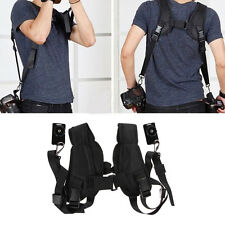 Quick Rapid Double Shoulder Sling Belt Strap for 2 DSLR Digital SLR Camera Black