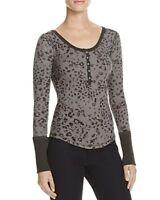We The Free Womens Davis Textured Printed Henley Top  Size L # S 7