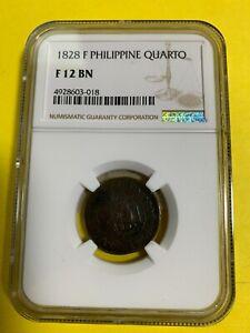 SPAIN PHILIPPINES 1828 QUARTO NGC F12 BN