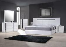 J&M Palermo Contemporary King  Bedroom Set in White Lacquer and Chrome Set 3Pcs