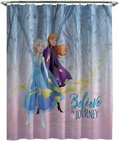 Disney FROZEN II Fabric Shower Curtain 72x72 Anna Elsa bathroom bath kids NEW