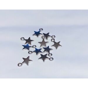 20 x Tiny silver Star Charms - small silver stars, tiny charms, Jewellery charms