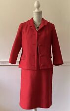 Mary Harnes Vintage 1960s Red Textured Wool Blend Skirt Suit UK Size 12