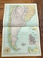 1890 large double page map - g.w. bacon the strand london .south america . south