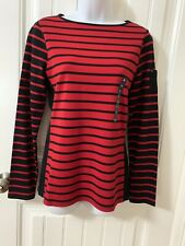 CHAPS Women's Red And Black Striped Longsleeve Shirt