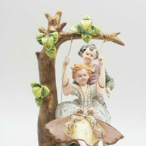 Antique Capodimonte K. Tsubota Artist Signed Boy & Girl on Swing Figurine