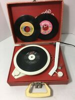 Vintage Emerson Big Little Portable Phonograph and 3 45's Tested Works