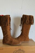 BROWN SUEDE MOCCASIN TASSEL BOOTS SIZE 4 / 37 BY BOOHOO USED CONDITION