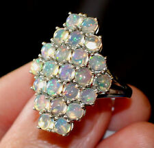 UK P large ETHIOPIAN FIRE OPAL solid 925 LONG RING Platinum Sterling Silver