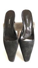 DKNY Women Black Suede Sparkle Mules Slanted Pointy Toe Kitten Block Heel UK3.5