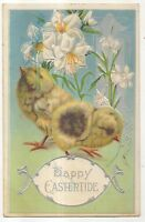 "Flowers, Cute Baby Chicks, ""Happy Eastertide"", Vintage Easter Postcard"
