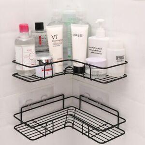 Shower Holder Shelf Bathroom Rack Tripod Metal Corner Storage Tray Black kitchen
