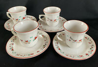Farberware White Christmas Coffee / Tea Cups and Saucers Set of 4 Vintage # 391