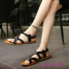 Summer Mens Roman Cross Strappy Sandals Gladiator Beach Casual Buckle Flat Shoes