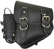 All H-D Softail Models/Rigid Frame Left Saddle Bag - Black with Bottle Holder