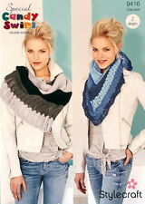 Stylecraft Ladies Shawls Candy Swirl DK Yarn Knitting Pattern 9416