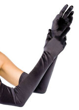 Ladies Vampire Extra Long Black Satin Gloves