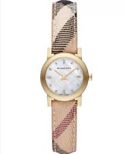 BURBERRY BU9226 The City Diamond Accent Haymarket Strap 26mm Ladies Watch NEW
