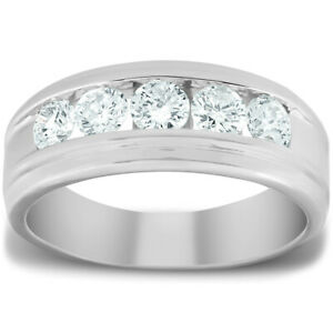 1 Ct Mens Diamond 5-Stone Wedding Ring Channel Set Classic Ring White Gold