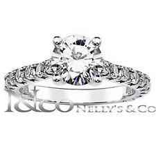 14K White Gold 1.85 cttw Round Diamond Semi Eternity Engagement Ring 6 Sizeble
