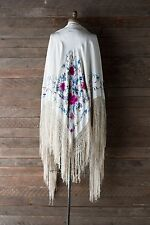 Rare Vtg 1920's Silk Embroidered Manton Piano Shawl - Large Size - Boho Wedding
