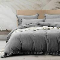 3 Pieces Ruffles Linen Duvet Cover Set Premium Quality Comforter Cover Set