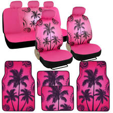 Pink and Black Palm Tree Pattern Seat Cover Set w/Floor Mats for Car Truck SUV