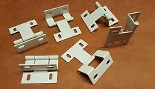 (6) 2 Inch White Wrap around Door HInges with adjustable screw holes NEW