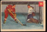 1954-55 PARKHURST #91  THE BATTLE OF ALL-STARS - KELLY VS LUMLEY  - HOCKEY CARD