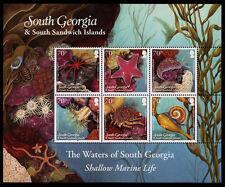 Georgia del Sur 2012 superficial de la vida marina 6 V Hoja SG 550 A Estampillada sin montar