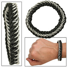 Squire of Honor Chivalry Chainmail Aluminum Rubber Expansion Cuff Bracelet