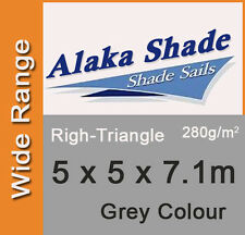 Extra Heavy Duty Shade Sail - Grey Right Angle Triangle 5m x 5m x 7.1m, 5x5x7.1m