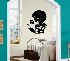 Wall Sticker Vinyl Decal Beautiful Woman with Flower Silhouette ig1297