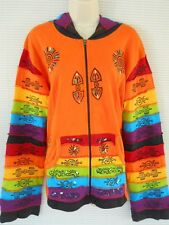 Nepal Rainbow Hippie Handmade Stone Wash Multi Color Cotton Jacket Hoodie 2X XXL