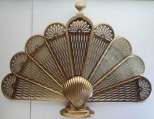 """Nautical Clam Shell Fan Brass 25""""x38"""" Metal Fireplace Screen Folding Victorian"""