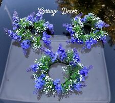 SET OF 3 SILK ARTIFICIAL LAVENDER CANDLE RINGS SUMMER WREATH TABLE CENTREPIECE