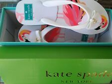 NEW IN BOX KATE SPADE NEW YORK FLAMINGO FLIP FLOP SANDALS BLACK WOMENS SIZE 8