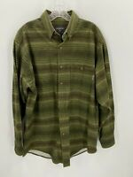 Woolrich Mens L Thick Green Plaid Flannel Button Front Shirt Long Sleeve