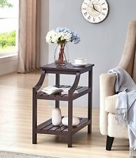 Espresso Finish Accent Chair Side End Magazine Table with Bottom Shelf
