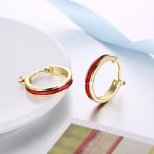 Classic 18K Yellow Gold Filled Red Oil Drip Hoop Earrings