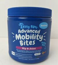 New Zesty Paws Advanced Mobitlity Bites Seniors Hip & Joint Dogs Chicken 90 Chew