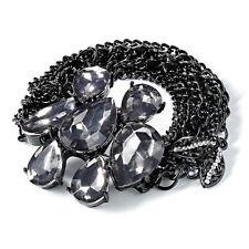 NEW! Simply VERA WANG Jet Black Tone Leaf & Crystal Bracelet FREE SHIPPING!
