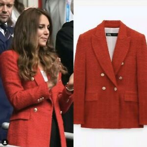 Zara Red Textured Double Breasted Blazer Kate Duchess Cambridge Royal Size M
