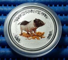 2007 Australia Lunar Year of the Pig 1 oz 999 Fine Silver Coin in capsule