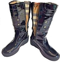 Burberry Black Patent Leather Mid-Calf Rain Snow Winter Wedges Boots Size 39 / 9
